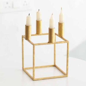 Gold Geo Square Candle Holder-CANDLES + AROMA-PropShop24.com