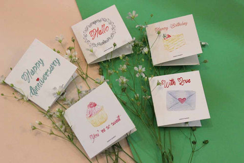 mini cards - set of 5 - anniversary-Stationery-PropShop24.com