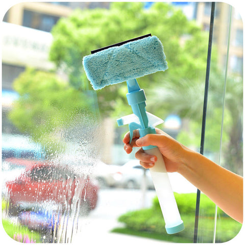 DOUBLE SIDED WINDOW CLEANER WITH SPRAY - BLUE