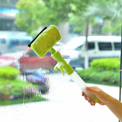 DOUBLE SIDED WINDOW CLEANER WITH SPRAY - GREEN