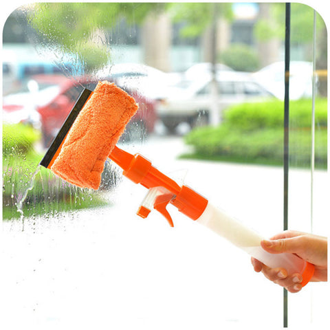 DOUBLE SIDED WINDOW CLEANER WITH SPRAY - ORANGE