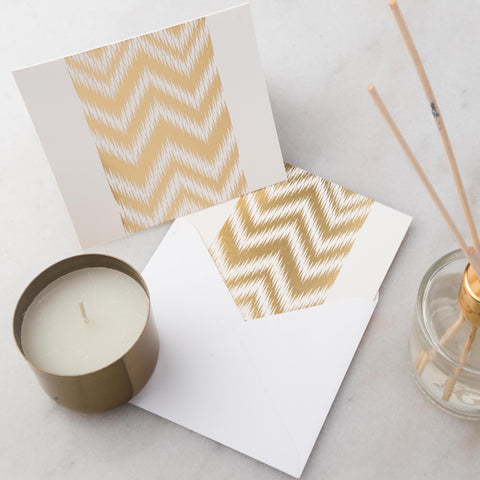 Notecards - Set of 12 - Gold Chevron - propshop-24