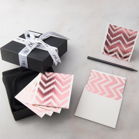 Notecards - Set of 12 - Small -  Rose Gold Chevron - propshop-24