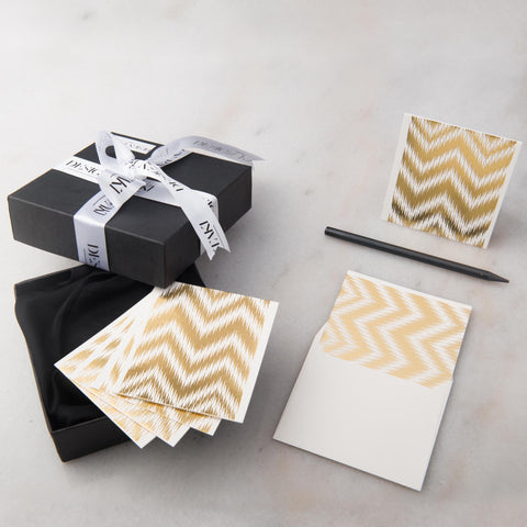Notecards - Set of 12 - Small -  Gold Chevron - propshop-24