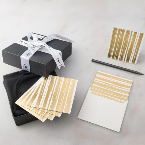 Notecards - Set of 12 - Small - Gold Stripes - propshop-24