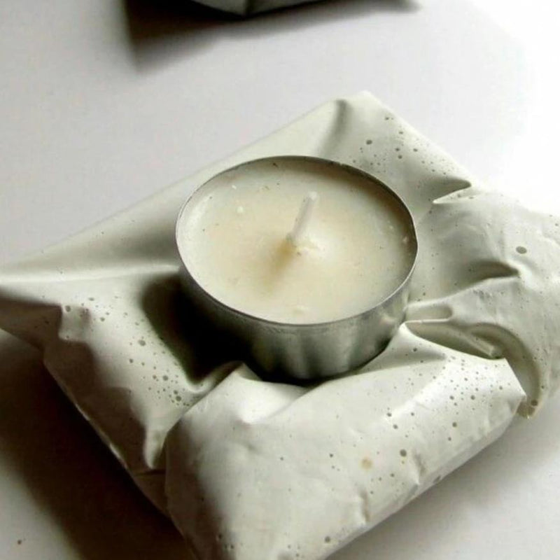 Concrete Cushion Tealight - Set Of 2-CANDLES + AROMA-PropShop24.com