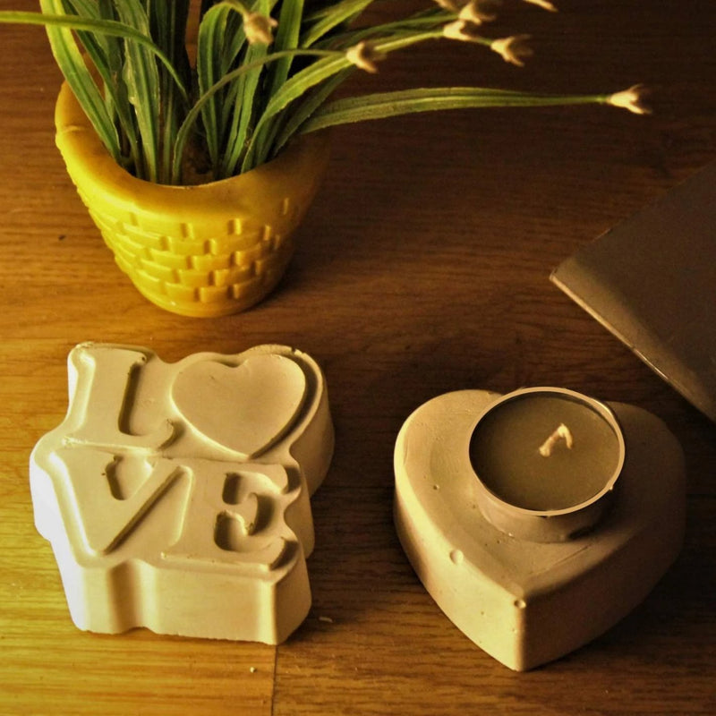 Concrete Love & Heart Tealight/Paper Weight-CANDLES + AROMA-PropShop24.com