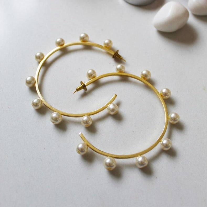 Earrings - White Pearl Hoops-EARRINGS-PropShop24.com