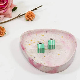 Concrete Cube Green Hand Painted Earrings-JEWELLERY-PropShop24.com