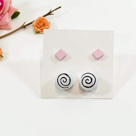 Concrete Pearl And Cube Pink And White Hand Painted Earrings - Set Of 2-JEWELLERY-PropShop24.com