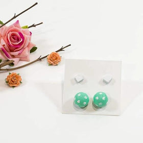 Concrete Pearl And Cube White And Green Hand Painted Earrings - Set Of 2-JEWELLERY-PropShop24.com