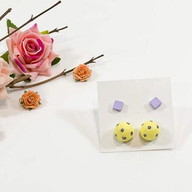 Concrete Pearl And Cube Lavender Lemon Yellow Hand Painted Earrings-JEWELLERY-PropShop24.com