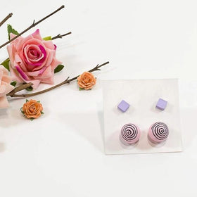 Concrete Pearl And Cube Lavender And Pink Hand Painted Earrings-JEWELLERY-PropShop24.com