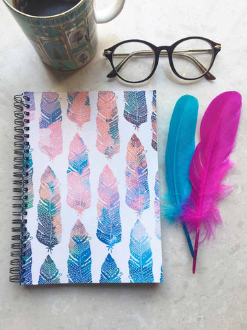 Feather Boho - Spiral Notebook-Stationery-PropShop24.com