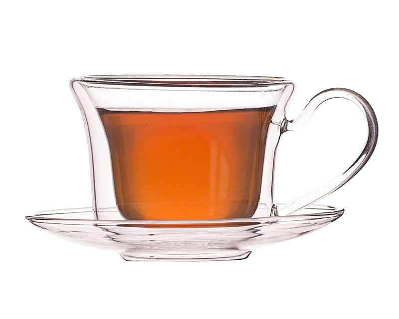 Double Wall Royal Tea Cup And Saucer Set - 250ml - Set Of 6-DINING + KITCHEN-PropShop24.com