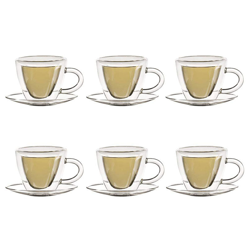 Double Wall Heart Cup And Saucer Set - 180ml - Set Of 6-DINING + KITCHEN-PropShop24.com