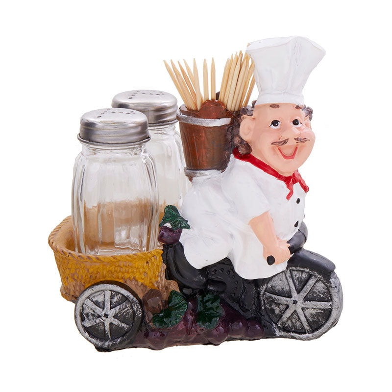 Fat Foodie Chef Holder - Salt Pepper Shakers With Toothpick Holder-DINING + KITCHEN-PropShop24.com
