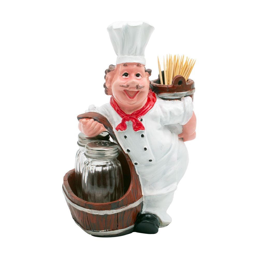 Fat Foodie Chef - Salt And Pepper Shakers With Toothpick Holder Basket-DINING + KITCHEN-PropShop24.com