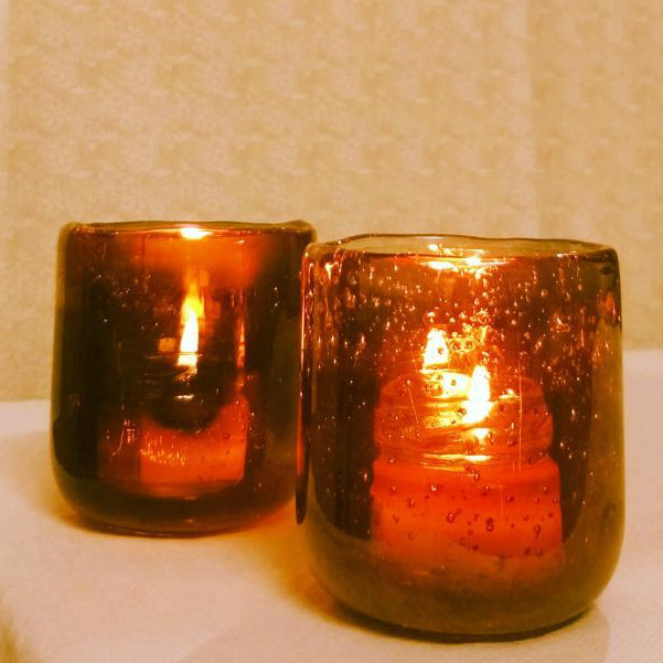 Tealight Holder - Hand Moulded Glass Jar-CANDLES + AROMA-PropShop24.com