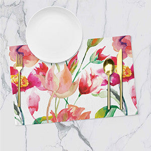 Placemats - Floral - White Bloom - Set Of 6-DINING + KITCHEN-PropShop24.com