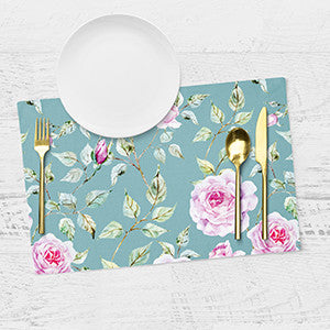 Placemats - Floral - Off Blue - Set Of 6-Home-PropShop24.com