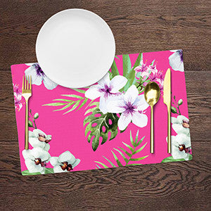 Placemats - Floral - Baby Pink - Set Of 6-DINING + KITCHEN-PropShop24.com