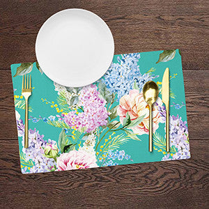Placemats - Floral - Minty Turquoise Green - Set Of 6-DINING + KITCHEN-PropShop24.com