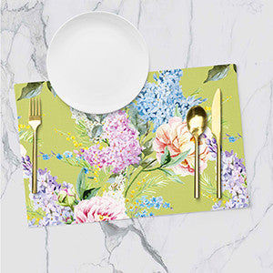 Placemats - Floral - Minty Greenish Yellow - Set Of 6-DINING + KITCHEN-PropShop24.com