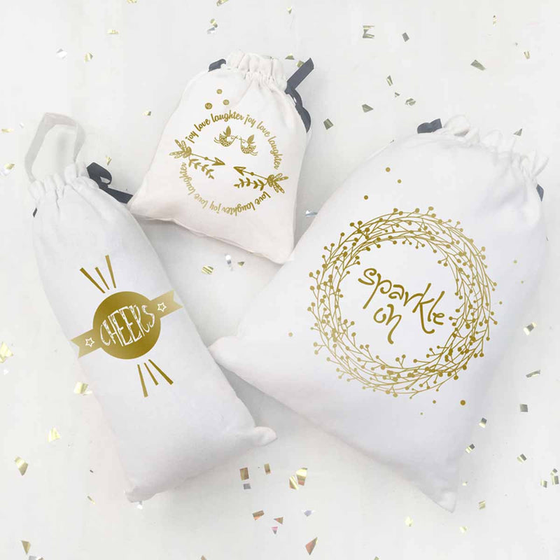 Utility Bags -Shimmer & Sparkle - Gold Sparkle - White - Set Of 3-ORGANIZERS-PropShop24.com