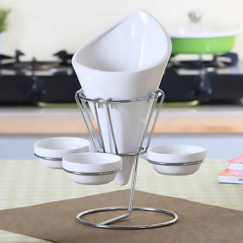 French Fries Holder with Metal Rack - white-Home-PropShop24.com