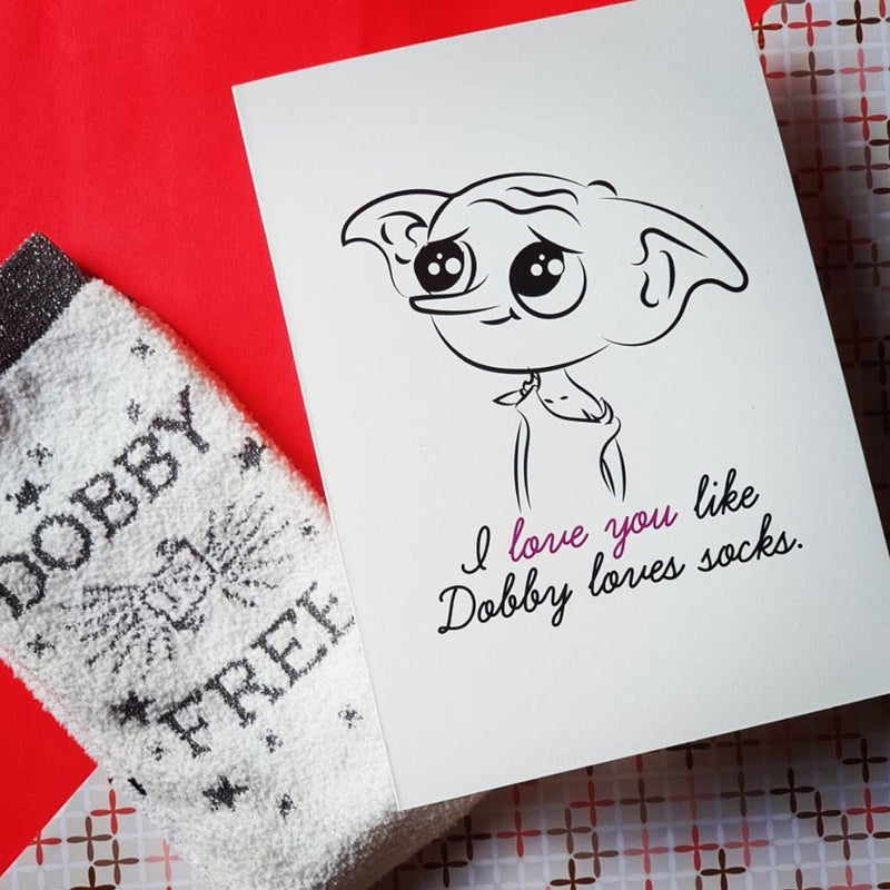 Dobby Socks- Card-GREETING CARDS-PropShop24.com