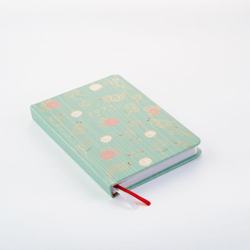 2021 Classic Planner - 12 Month Dated - Pastel Mint Roses-NOTEBOOKS + PLANNERS-PropShop24.com