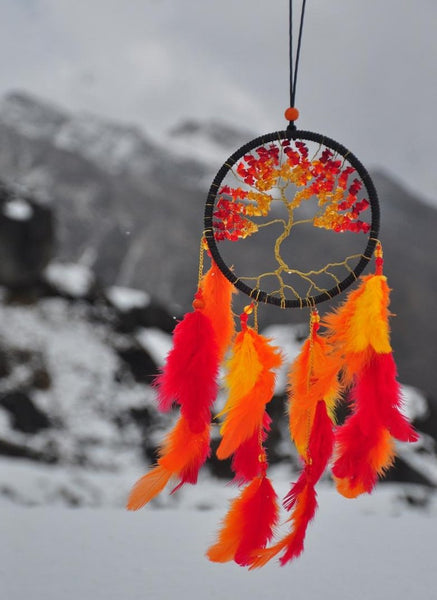 Dreamcatcher - Tree Of Life With Crystals - Orange-HOME-PropShop24.com