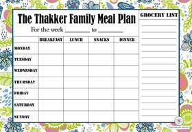 PERSONALISED REWRITABLE Meal Planner - Garden Doodle - Magnum - COD NOT AVAILABLE-STATIONERY-PropShop24.com