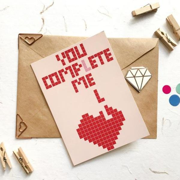 Tetris Heart Greeting Card-GREETING CARDS-PropShop24.com