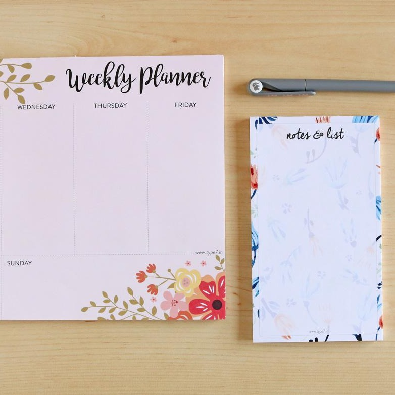 Floral Combo - Weekly Planner And Notepad-NOTEBOOKS + PLANNERS-PropShop24.com