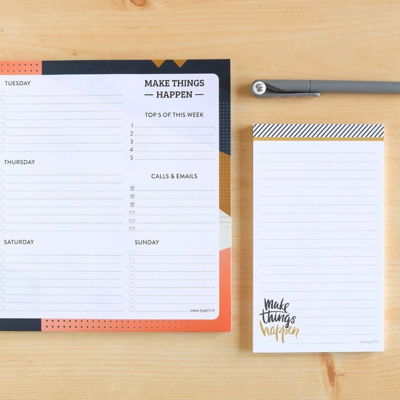 Make Things Happen Combo - Weekly Planner And Notepad-NOTEBOOKS + PLANNERS-PropShop24.com