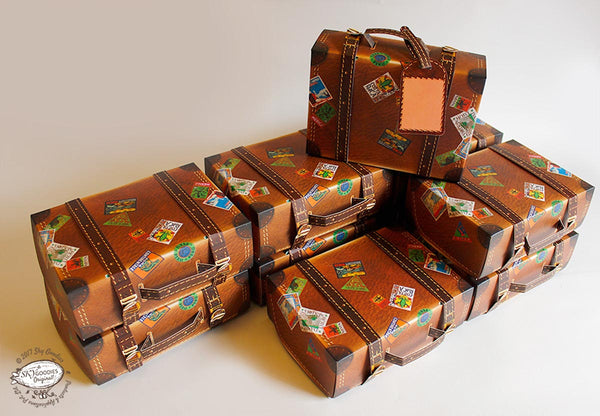 Buy Set of 10 Brown Travel Suitcase Gift Boxes Online