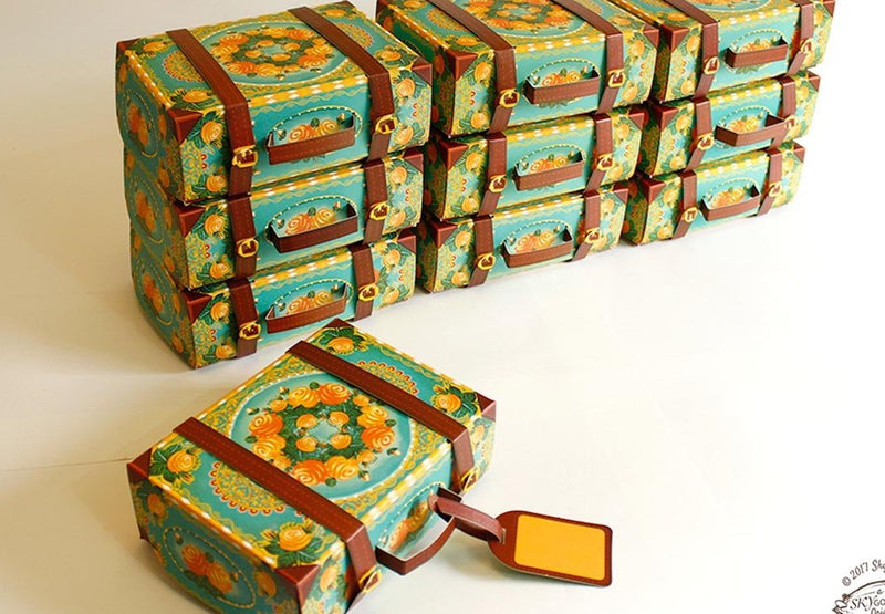 Set Of 10 Colorful Blue Suitcase Gift Boxes-DESK ACCESSORIES-PropShop24.com
