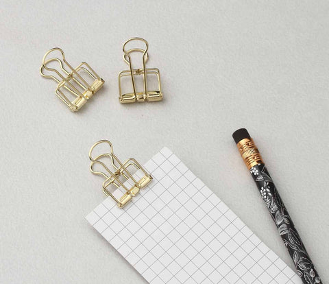 Binder Clips - gold - set of 8-STATIONERY-PropShop24.com