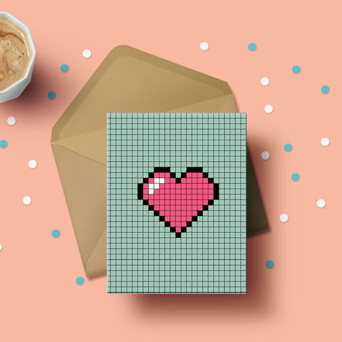 Greeting Card - Pixel Heart-Stationery-PropShop24.com