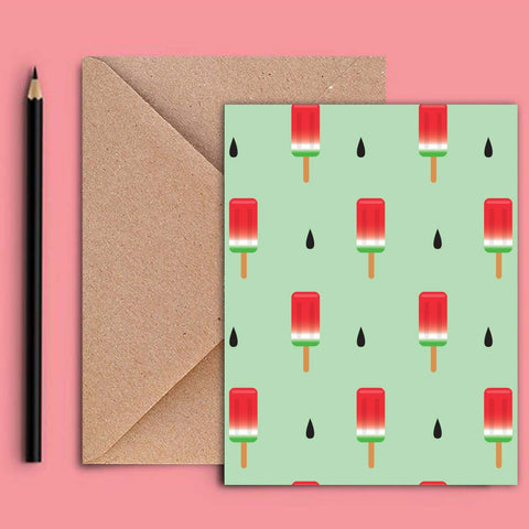 Greeting Card - Watermelon Ice Lollies-STATIONERY-PropShop24.com