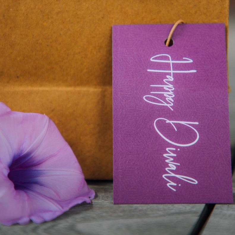 Gift Tags - Happy Diwali - Purple - Set Of 10-GIFTING ACCESSORIES-PropShop24.com