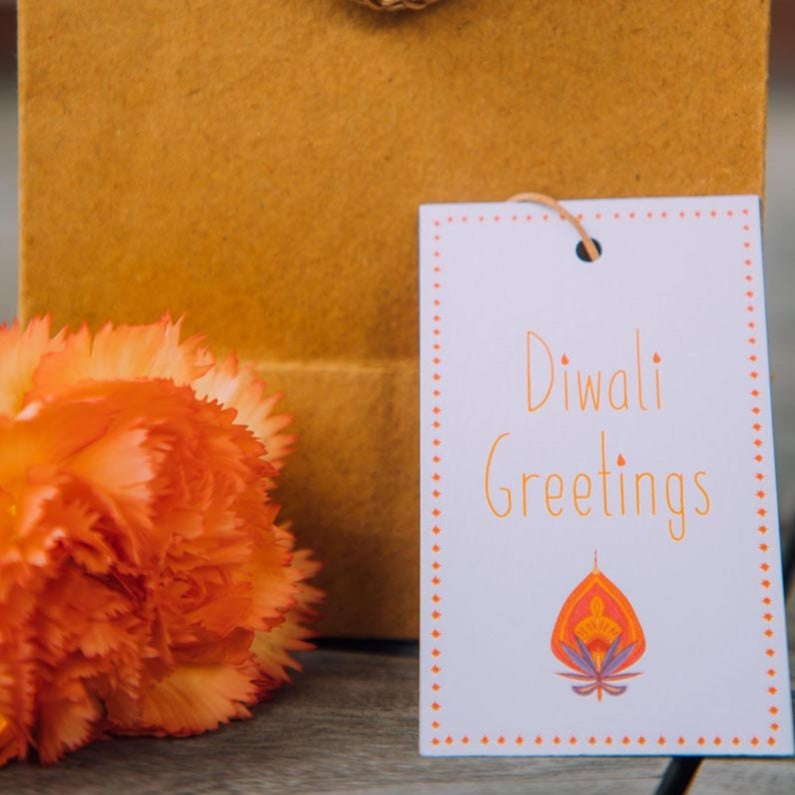 Gift Tags - Diwali Greetings - White And Orange - Set Of 10-GIFTING ACCESSORIES-PropShop24.com