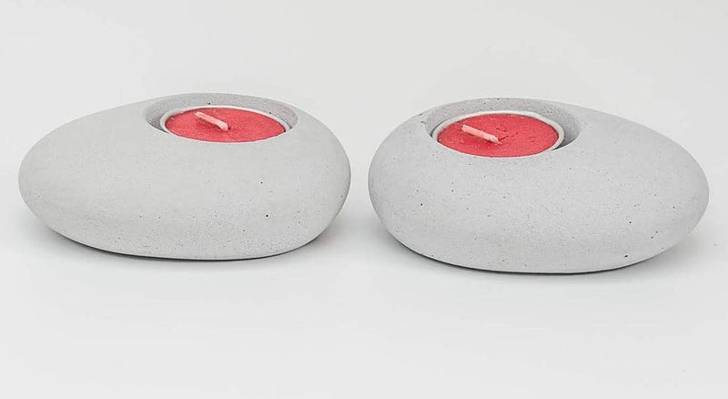 Tealight Holder - Glowing Eyes - Grey - Set Of 2-CANDLES + AROMA-PropShop24.com