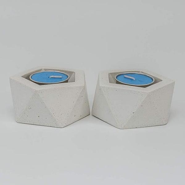 Tealight Holder - Hexalite - White - Set Of 2-CANDLES + AROMA-PropShop24.com
