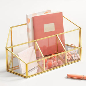 Desk Organizer - Transparent Glass - Gold-DESK ACCESSORIES-PropShop24.com