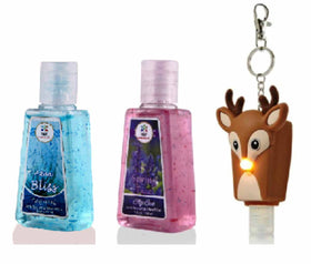 HAND SANITIZER - Reindeer LED holder with Spring Fizz and Aqua Bliss Set of 3 - 30ml-BEAUTY-PropShop24.com
