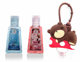 HAND SANITIZER - Teddy holder with Fresh Blooms, Aqua Bliss - Set of 3 - 30ml-BEAUTY-PropShop24.com