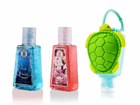 HAND SANITIZER - Tortoise holder with Aqua Bliss, Fresh Blooms - Set of 2-BEAUTY-PropShop24.com